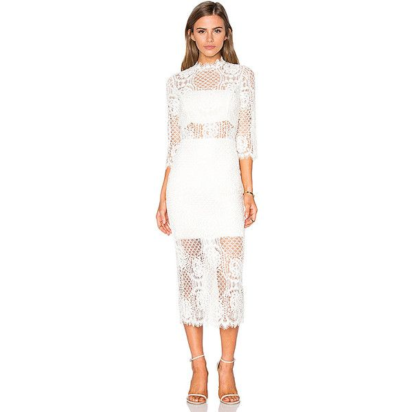 Alexis Miller Midi Dress ($585) ❤ liked on Polyvore featuring dresses, scallop trim dress, mid calf dresses, scalloped lace dress, white lace dress and white day dress