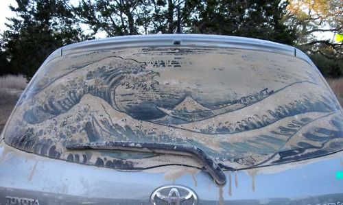 Someone awesome made Great Wave by Hokusai piece w dirt on car! same idea as the Marilyn image but worth grabbing