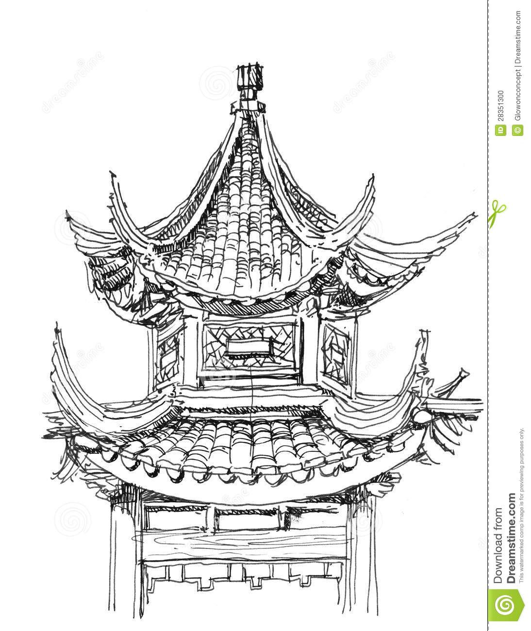 Afbeelding Van Http Thumbs Dreamstime Com Z Chinese Temple Drawing 28351300 Jpg Temple Drawing Chinese Drawings Asian Architecture