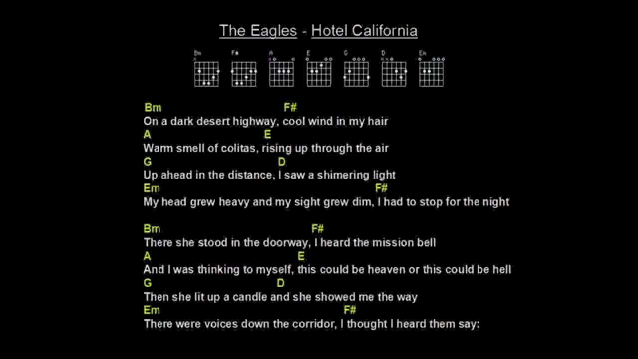 The eagles hotel california backing track guitar chords lyrics the eagles hotel california backing track guitar chords lyrics hexwebz Choice Image