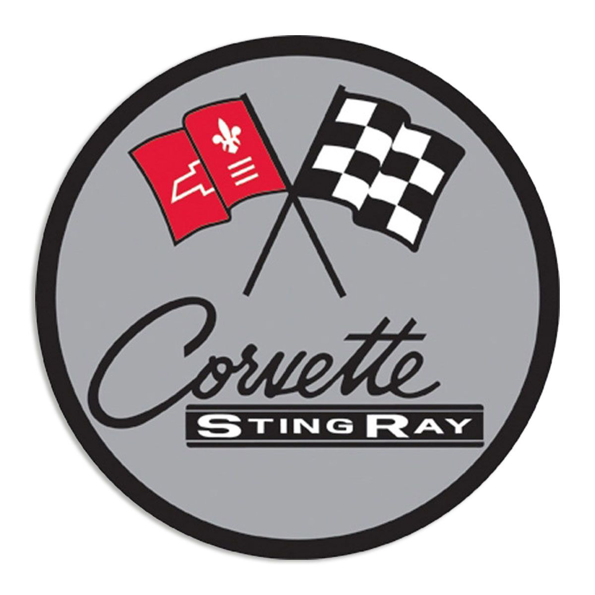 Chevy Corvette Stingray Racing Flags Steel Sign