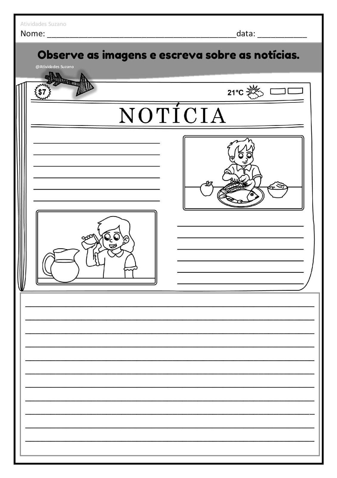 Producao De Texto Em Pdf Noticia E Imagens Atividades De Escrita