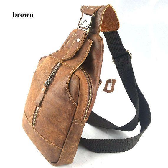 Men's Leather Backpack Single Strap One Shoulder Bag Chest Bag ...