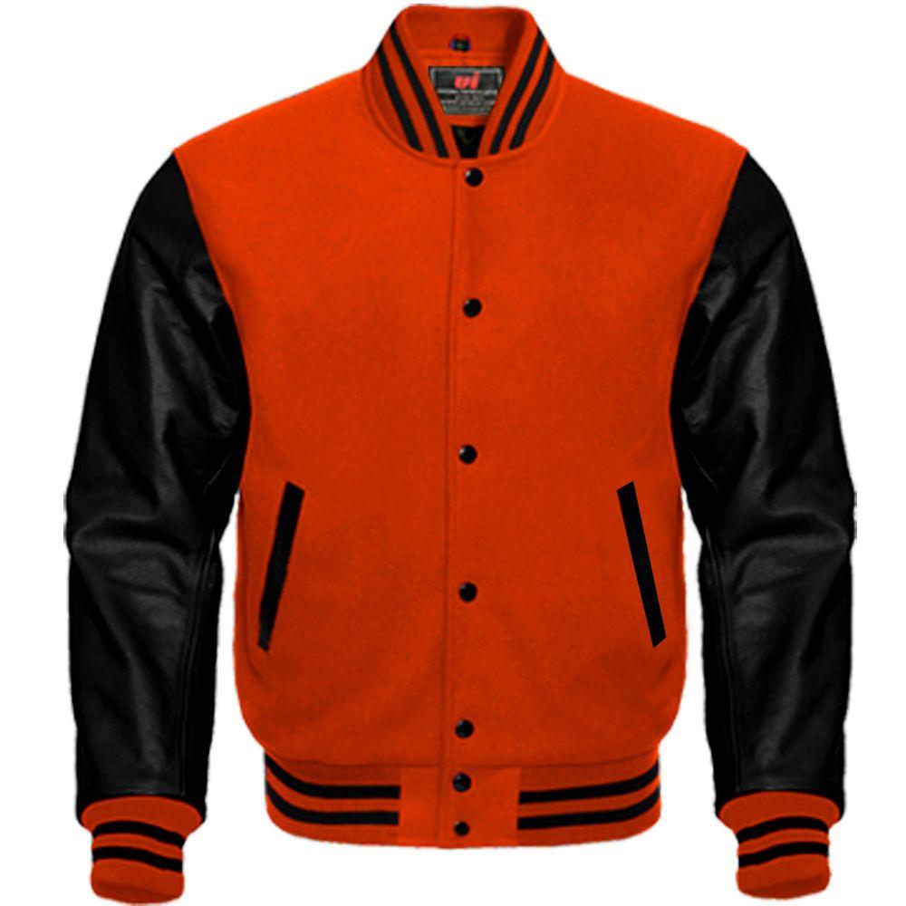 Letterman Baseball Bomber Varsity Jacket Wool Blend /& Real White Leather Sleeves