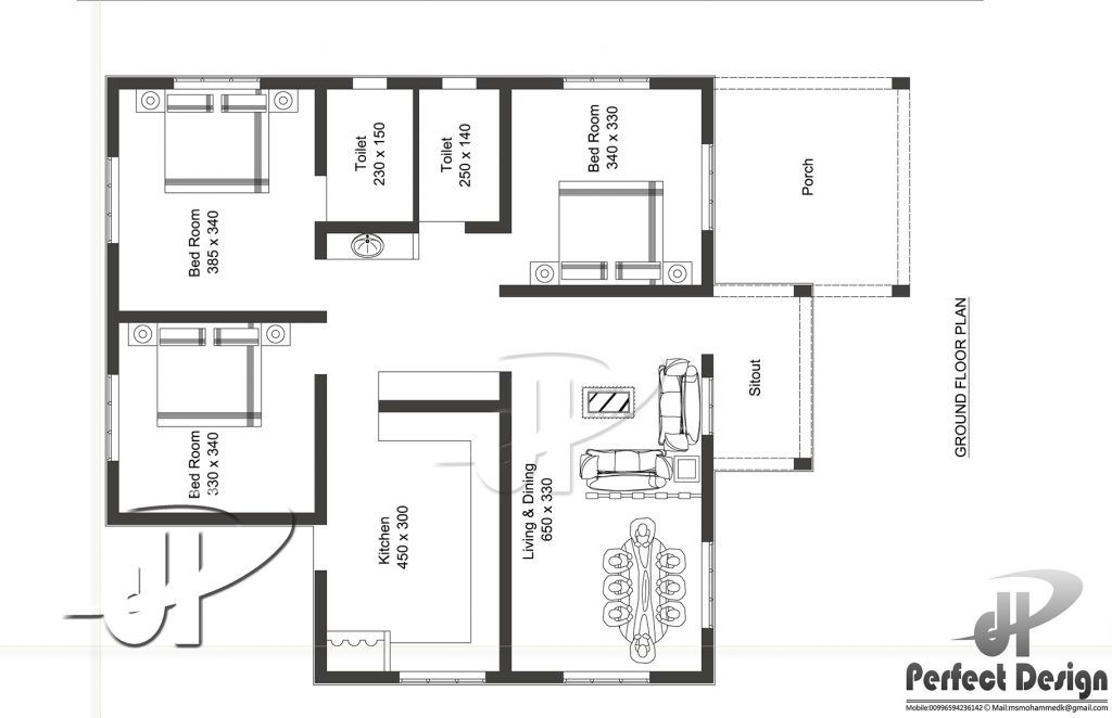1087 Square Feet 3 Bedroom Modern Single Floor Home Design And Plan