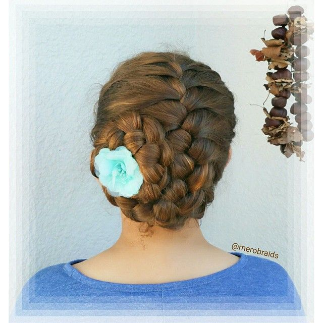 """Frenchbraid rolled up to an updo  Have a great Thrusday all "" Photo taken by @merobraids on Instagram, pinned via the InstaPin iOS App! http://www.instapinapp.com (04/23/2015)"