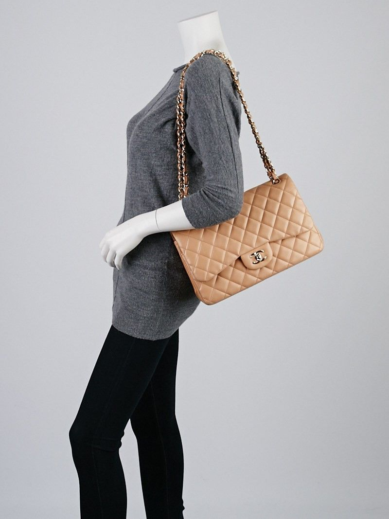 Chanel Beige Quilted Lambskin Leather Classic Jumbo Double Flap Bag Used Chanel Bags Bags Flap Bag