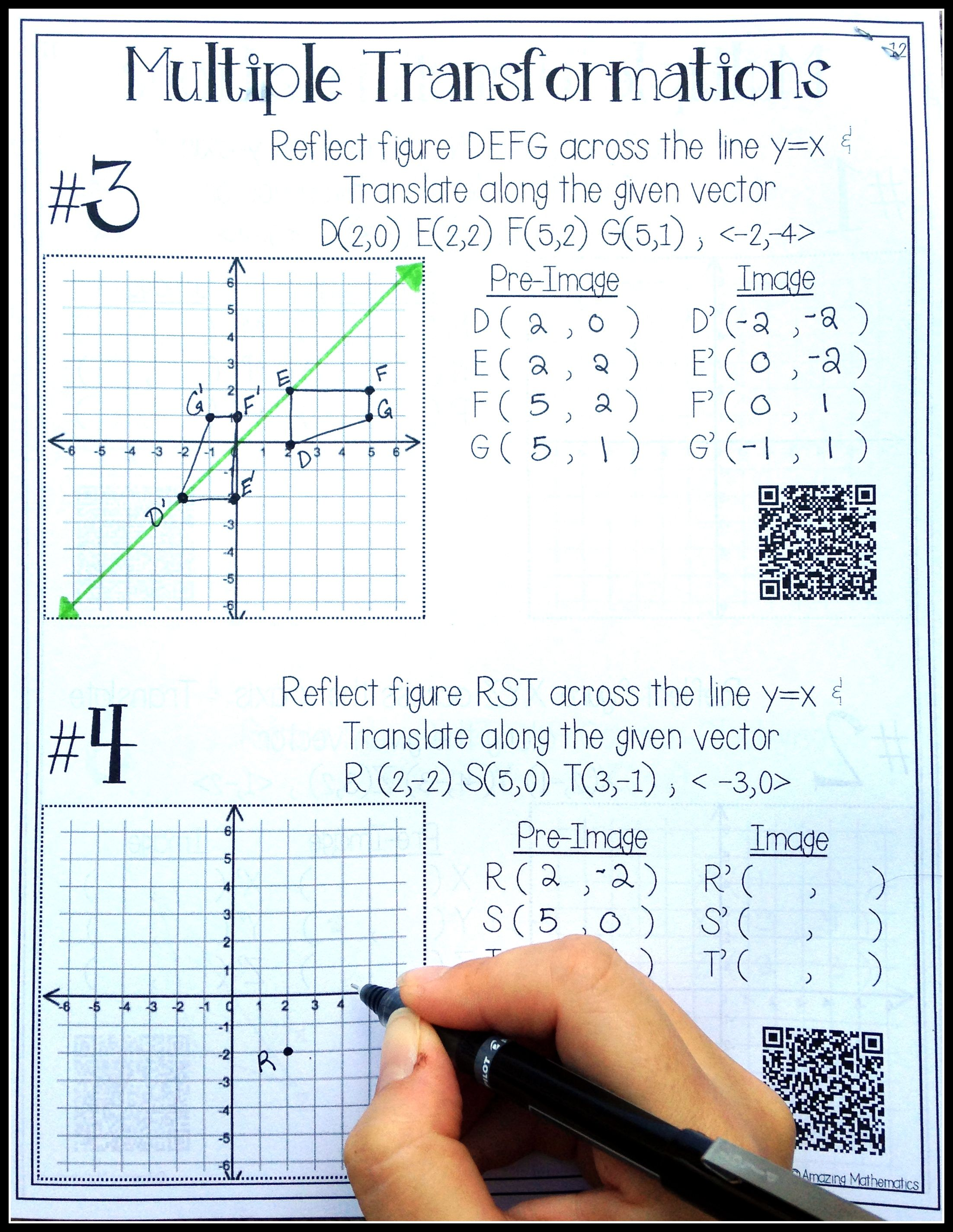 small resolution of HS Geometry Transformations Workbook ~ Translations