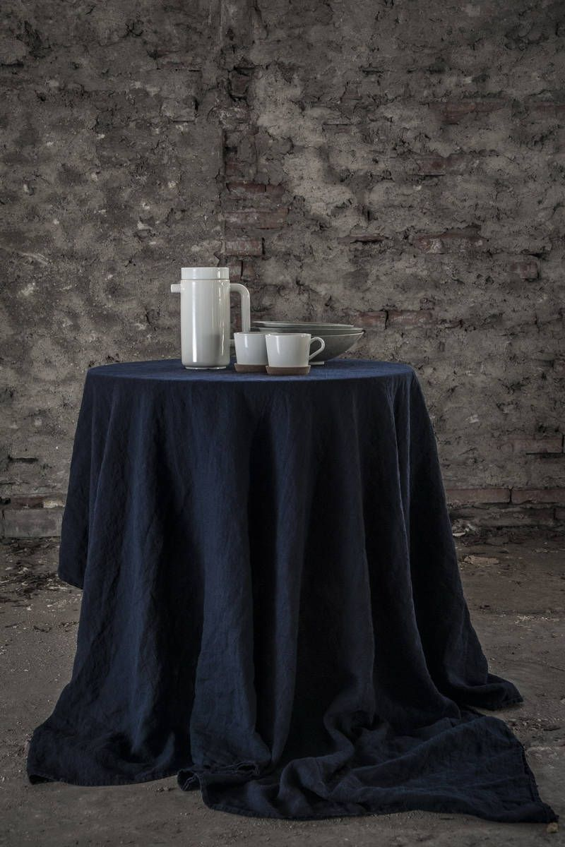 STONEWASHED Pure Linen Tablecloth. Supersoft And Fluid Tablecloth. Navy  Linen Tableloth. By LUMIOStudio