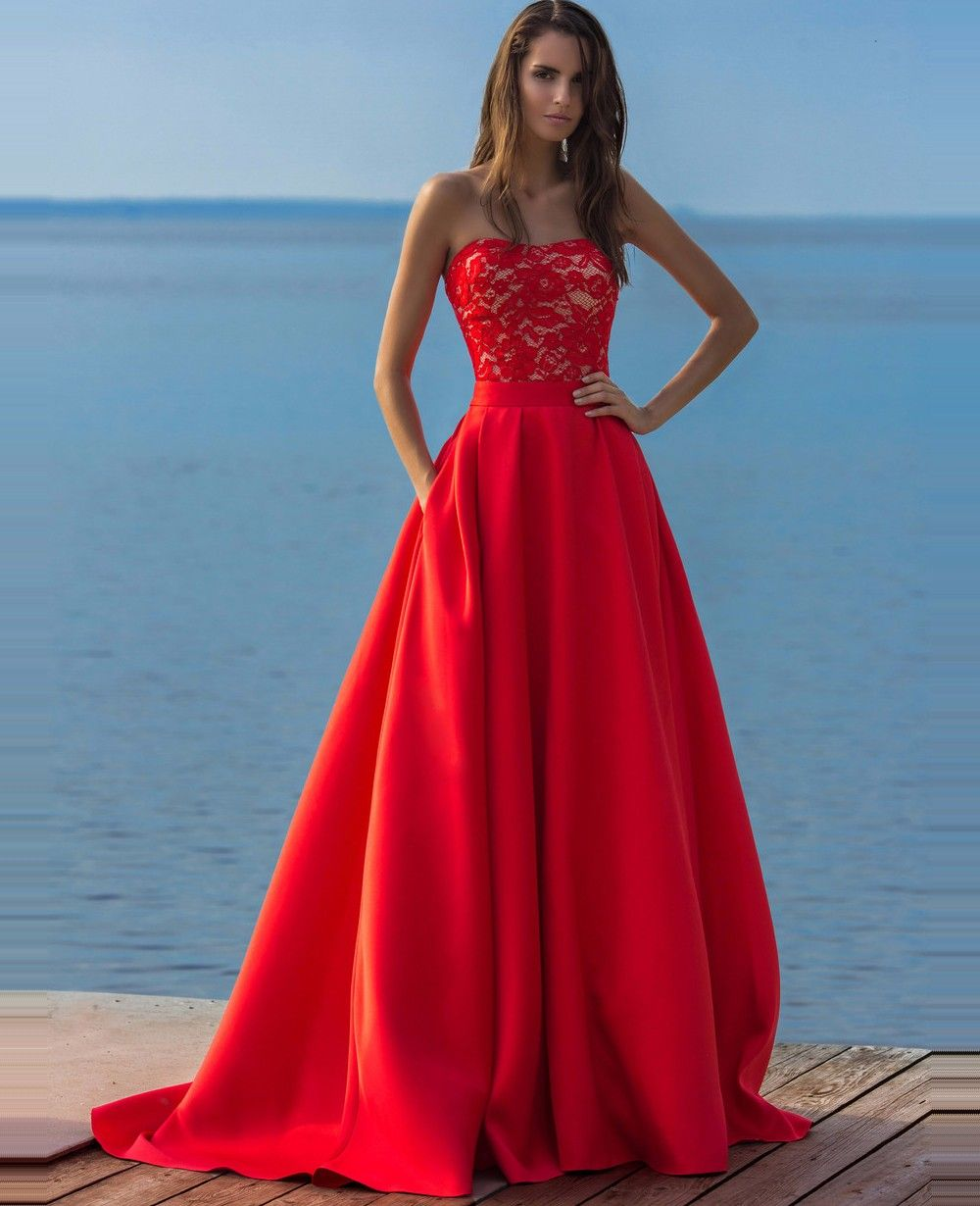 Click to buy ucuc sexy red long two pieces lace prom dress with