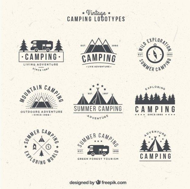 dibujados a mano logotipos para acampar en estilo de la vendimia ...