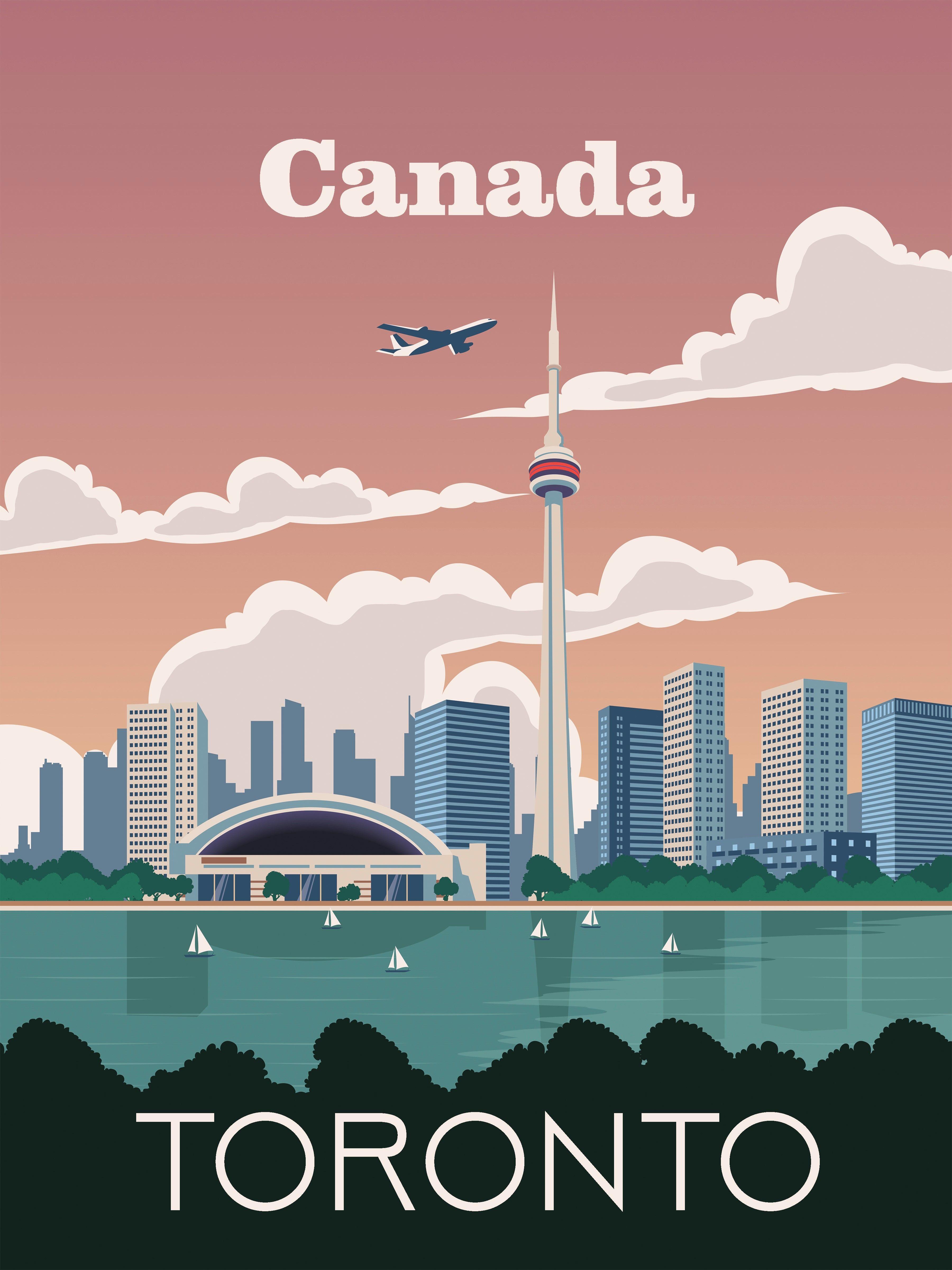 Toronto Travel Poster Vintage Retro Wall Art Skyline Map City Decor Print Retro Travel Poster Poster Vintage Retro Vintage Travel Posters