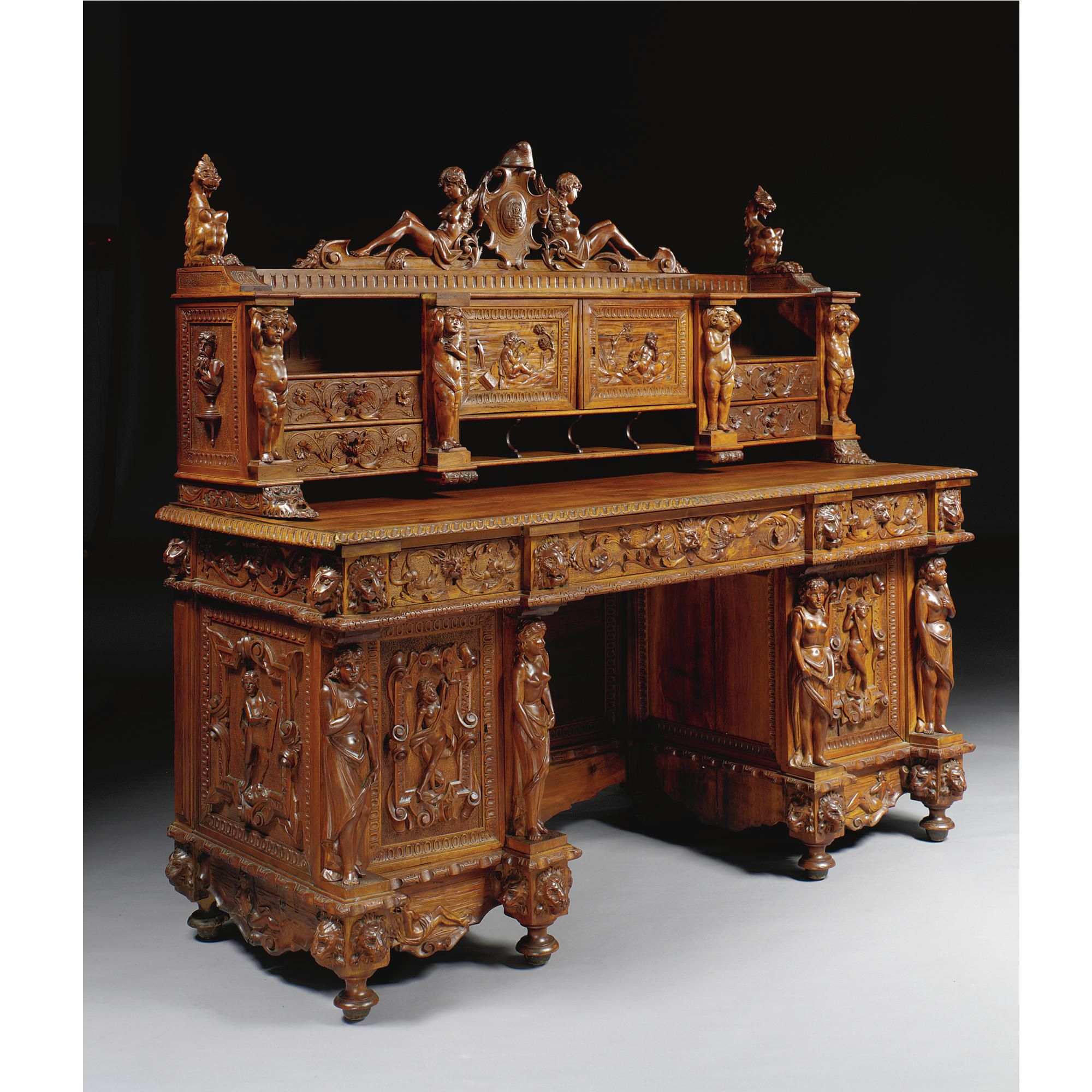North Italian Carved Walnut Desk Early 20th Century