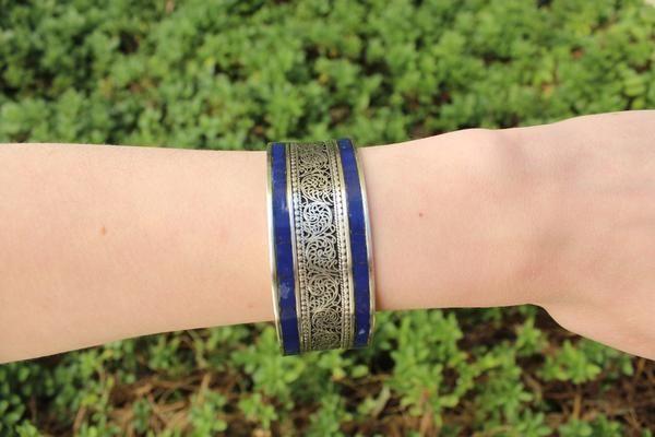 Blue boho adjustable cuff $11.95 USD  #boho #gypsy #bohojewelry #hippiejewlery #gypsyjewelry