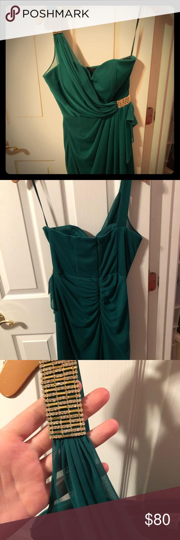Green dress one shoulder  CACHÉ EMERAld GREEN HOCO DRESS  Emerald green dresses Hoco dresses