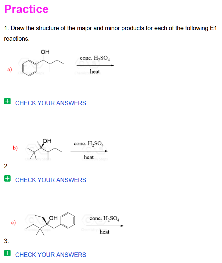 Stereoselectivity Of E1 Reactions Practice Problems Chemistry Worksheets Reactions Chemistry