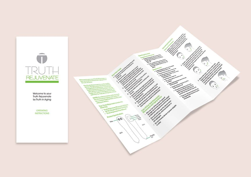 Beauty Retailer Truth in Aging device usage brochure with custom illustrated graphics.