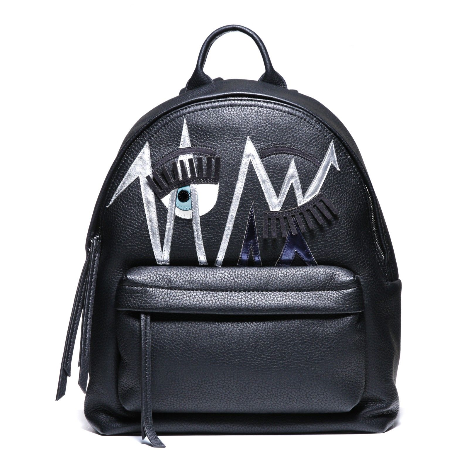 "Black leather ""Flirting""backpack with suede and patent decorations and silver and blue laminated leather sketches"