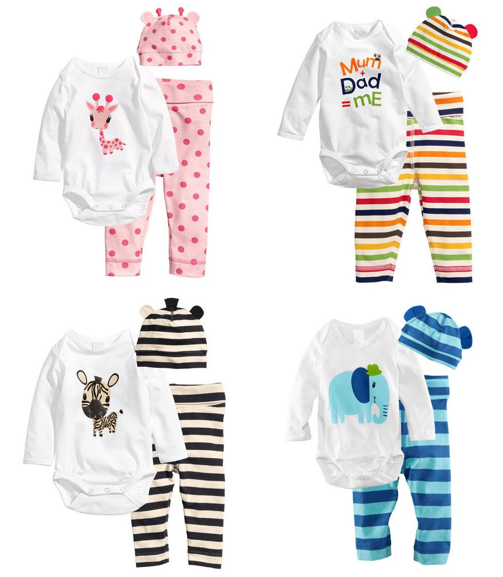 Click To Buy 3pcs Newborn Baby Girls Toddler Clothes Cartoon Hat Romper Pants Cap Jumpsuit Suit Trousers Be Toddler Girl Outfits Boy Outfits Romper Pants