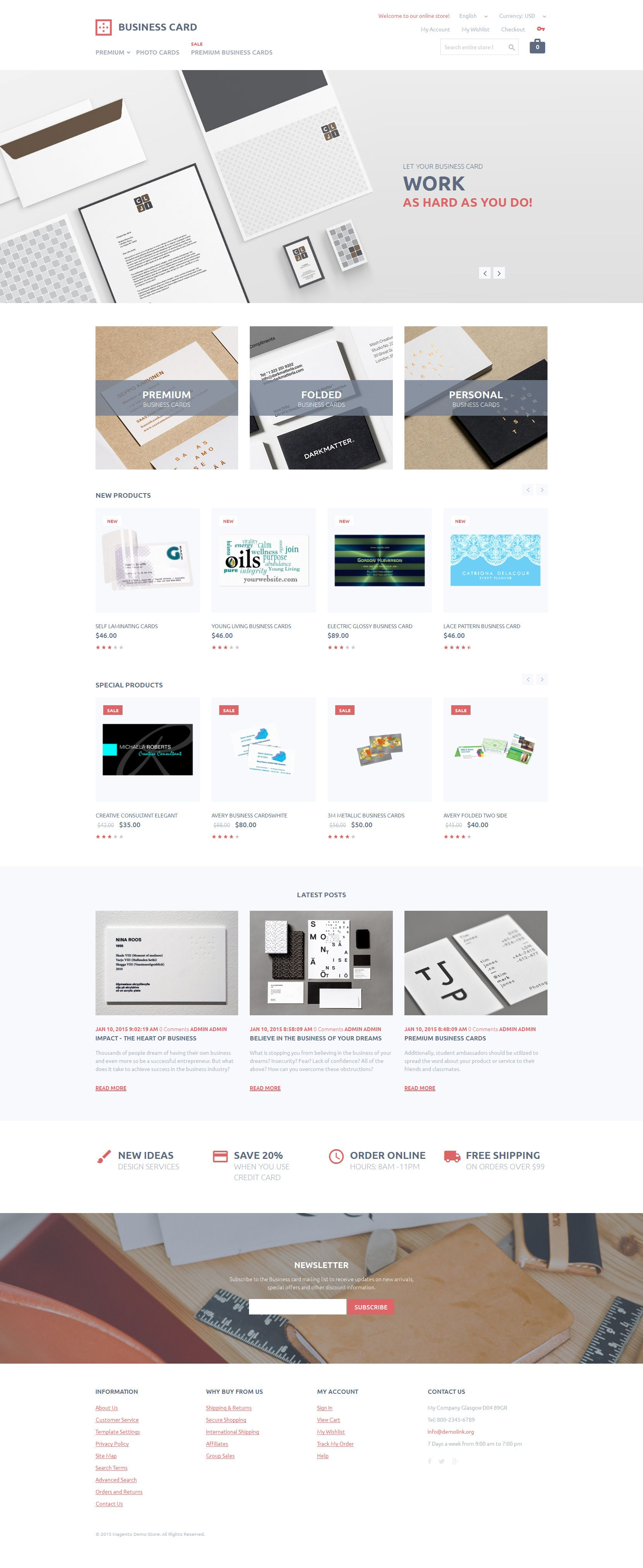 Magento Templates | Business Card Printing Magento Theme Template And Business Cards