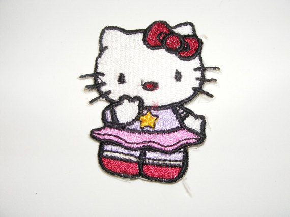 Hello Kitty Embroidered Iron On / Sew On Patch  Ships by LoveLaly