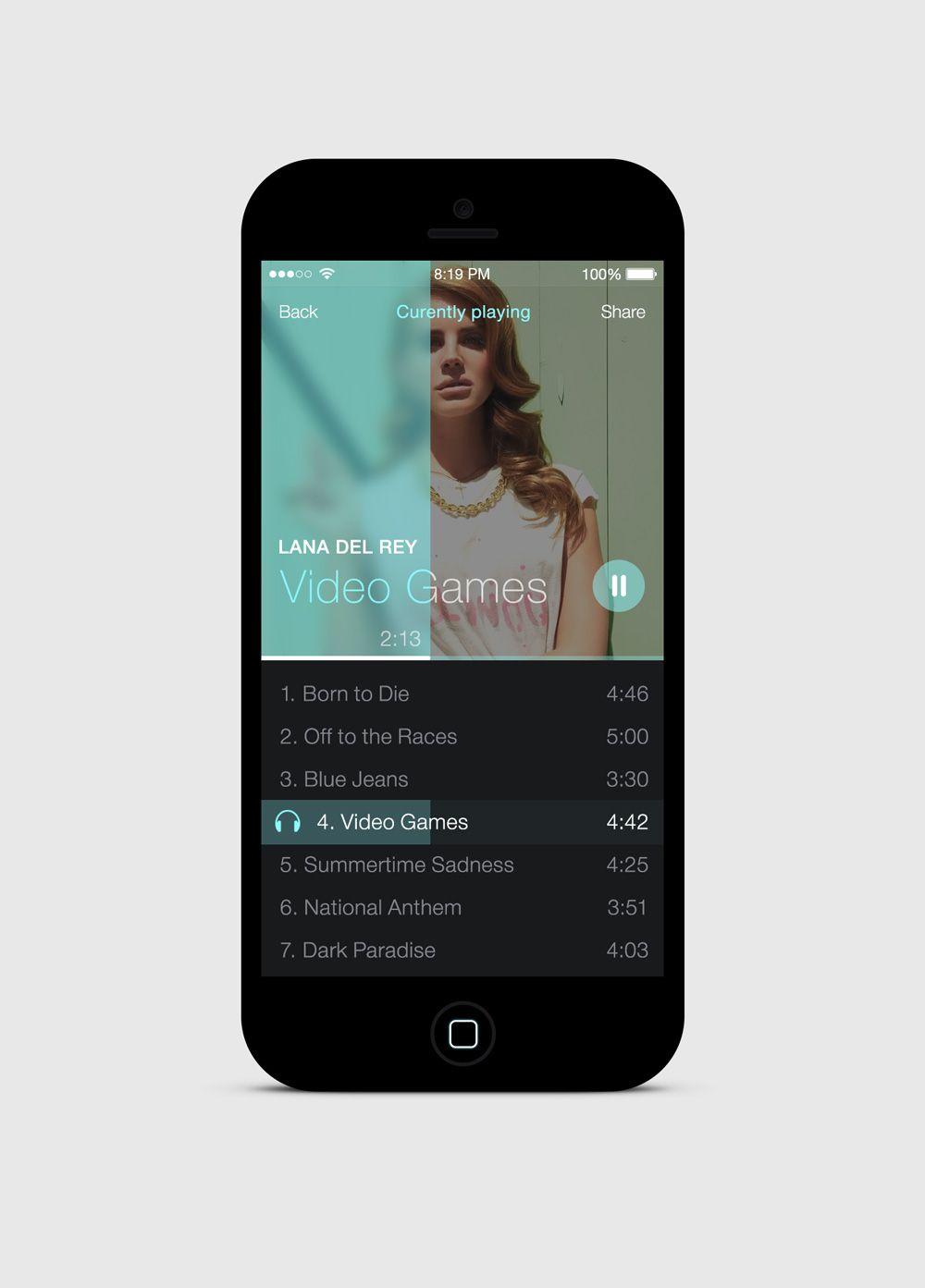 iOS7 Simple Music Player App / Kreativa Studio | Mobile: iOS
