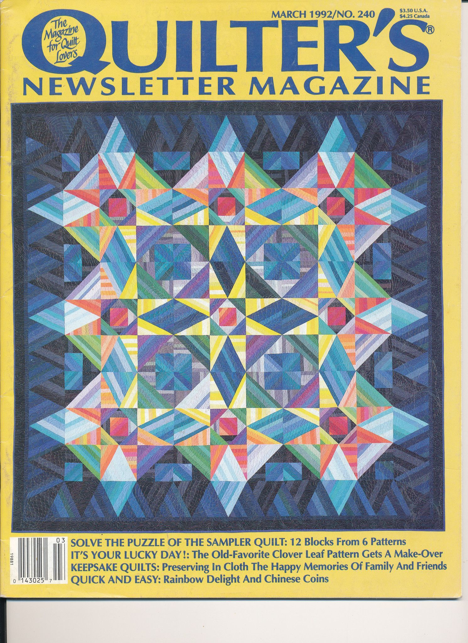 Quilter's Newsletter Magazine March 1992 /No. 240