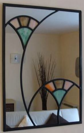 Art Deco Fans Mirror Stained Glass Mirror Stained Glass Art