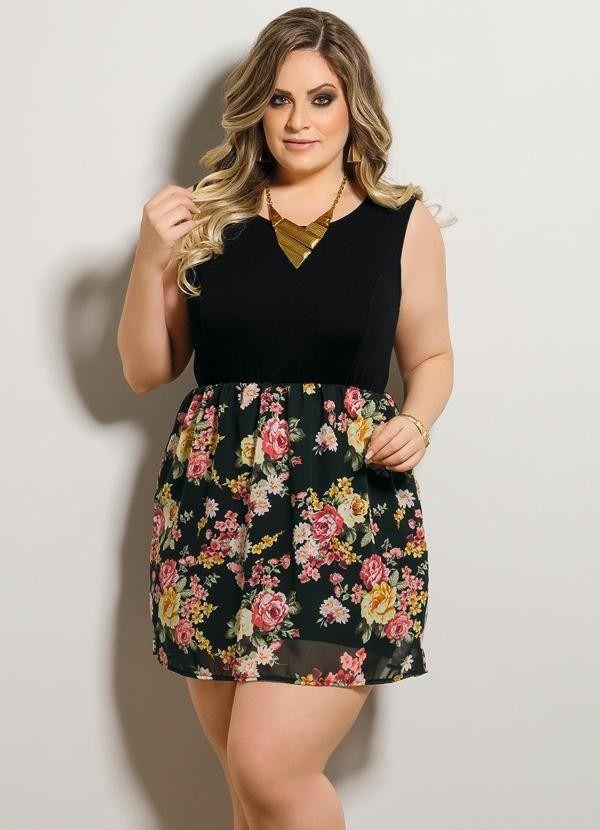ae04ef45d vestido curto preto estampado florido modelo plus size