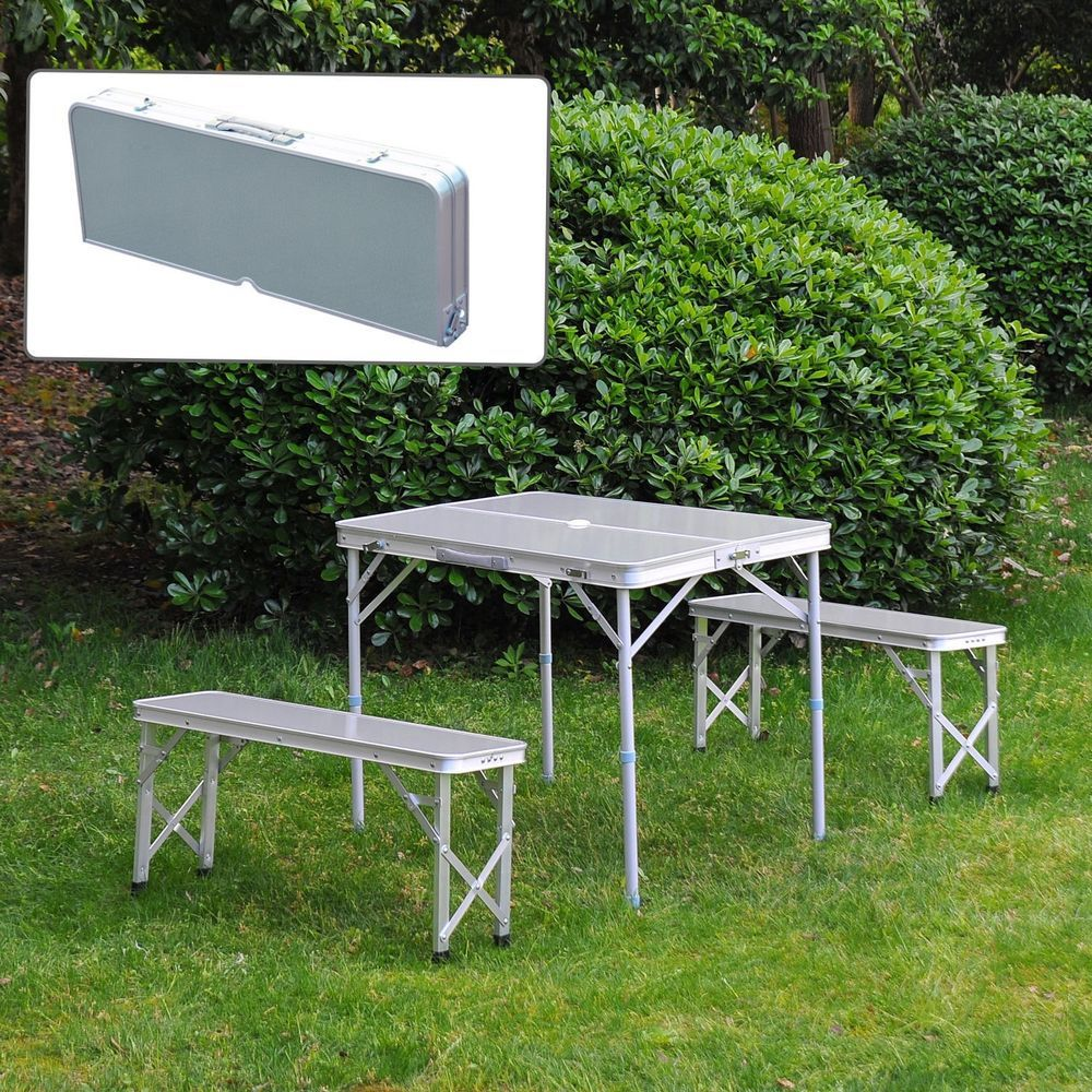 Aluminum Folding Picnic Table Bench Seat Portable Camping Carry Case ...
