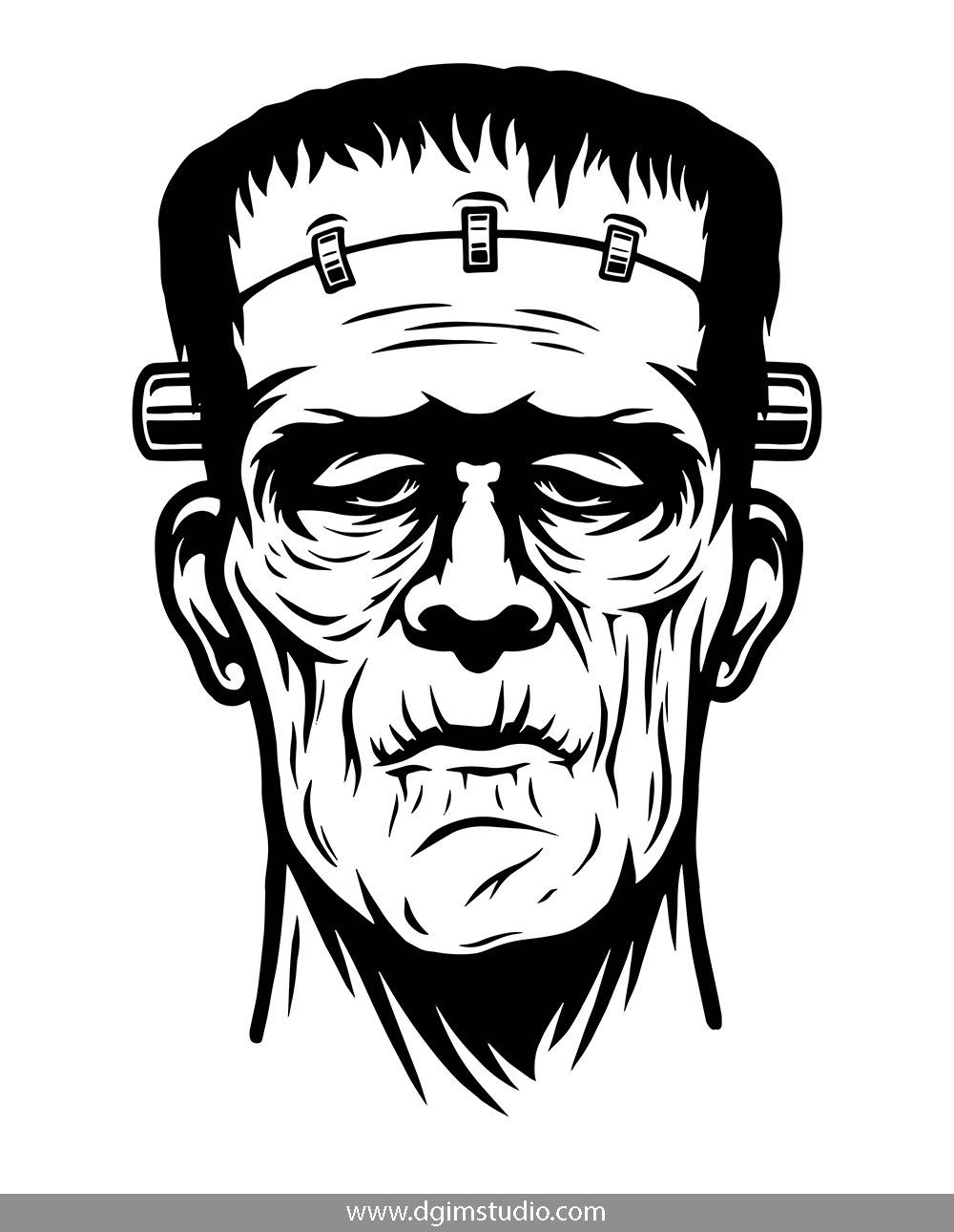 Monochrome Frankenstein Head In Vintage Style Click To The Link To Find More Apparel Design Frankenstein Art Monochrome Illustration Frankenstein Illustration