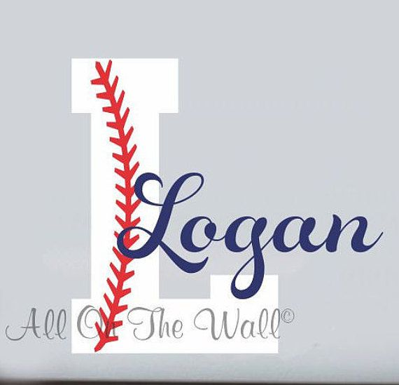 Baseball Wall Decal Boy Name Initial Monogram Sports Wall Decal - Personalized wall decals for nursery