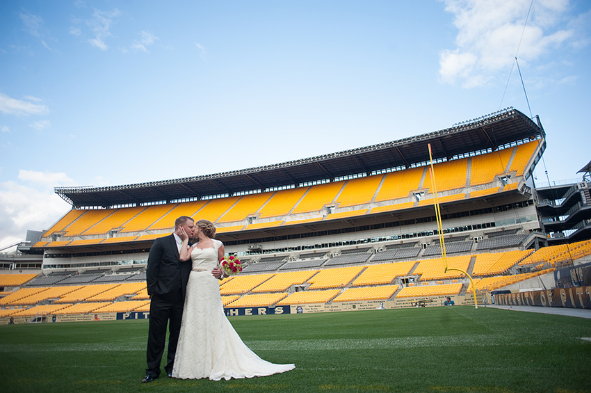 Heinz Field wedding for sports fans / Meaghan Elliott Photography / Borrowed & Bleu