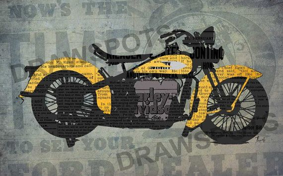 Harley Davidson Newspapers, Art Print 12x7.50in To 60x41in, Motorcycle Art  Print,