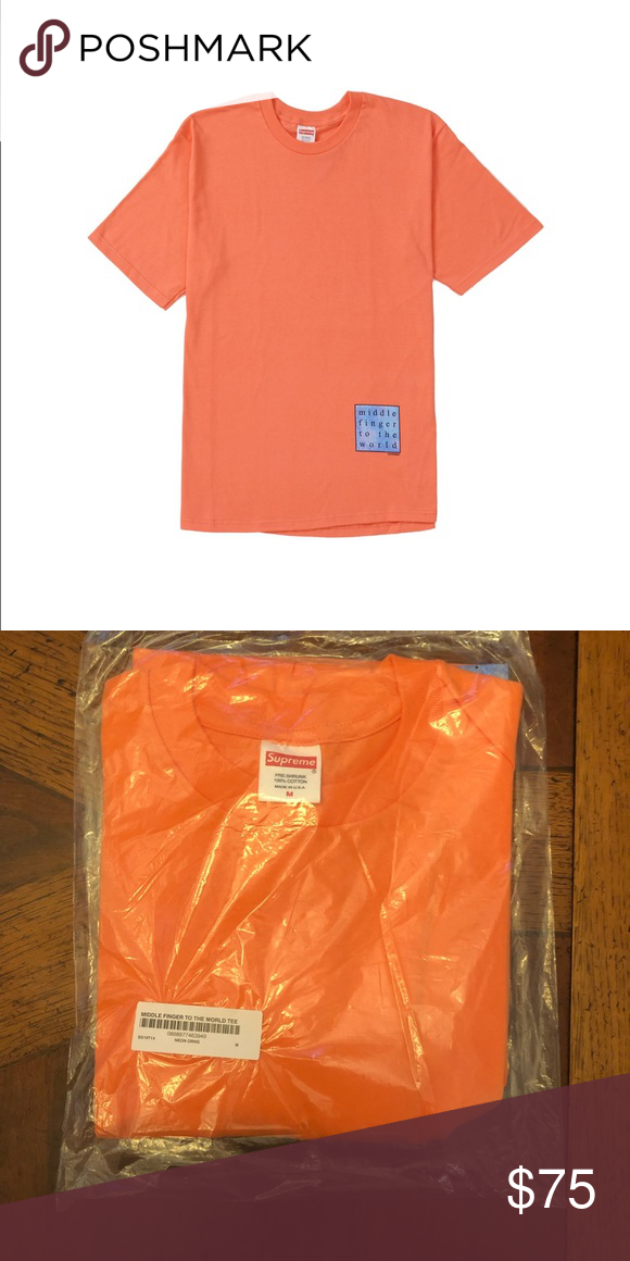 d13d87f4c29c Supreme Middle Finger To The World Tee Brand new, recent drop. Supreme  Middle Finger To The World Tee Color: Neon Orange Size: M Supreme Shirts  Tees - Short ...
