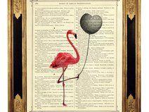 Flamingo Herz Ballon - Druck auf antiker Buchseite