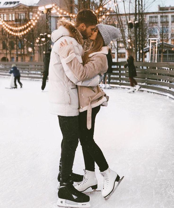 Couple Winter Holiday Season Christmas Goals !! Winter wonderland skating rink #c Photo idea