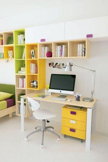 Camerette golf libreria in acero pistacchio e zafferano for Design stanza ufficio