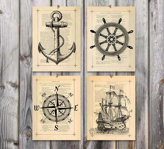 Vintage Nautical Bedding: Nautical Art Poster Print Set Antique Drawing Illustration