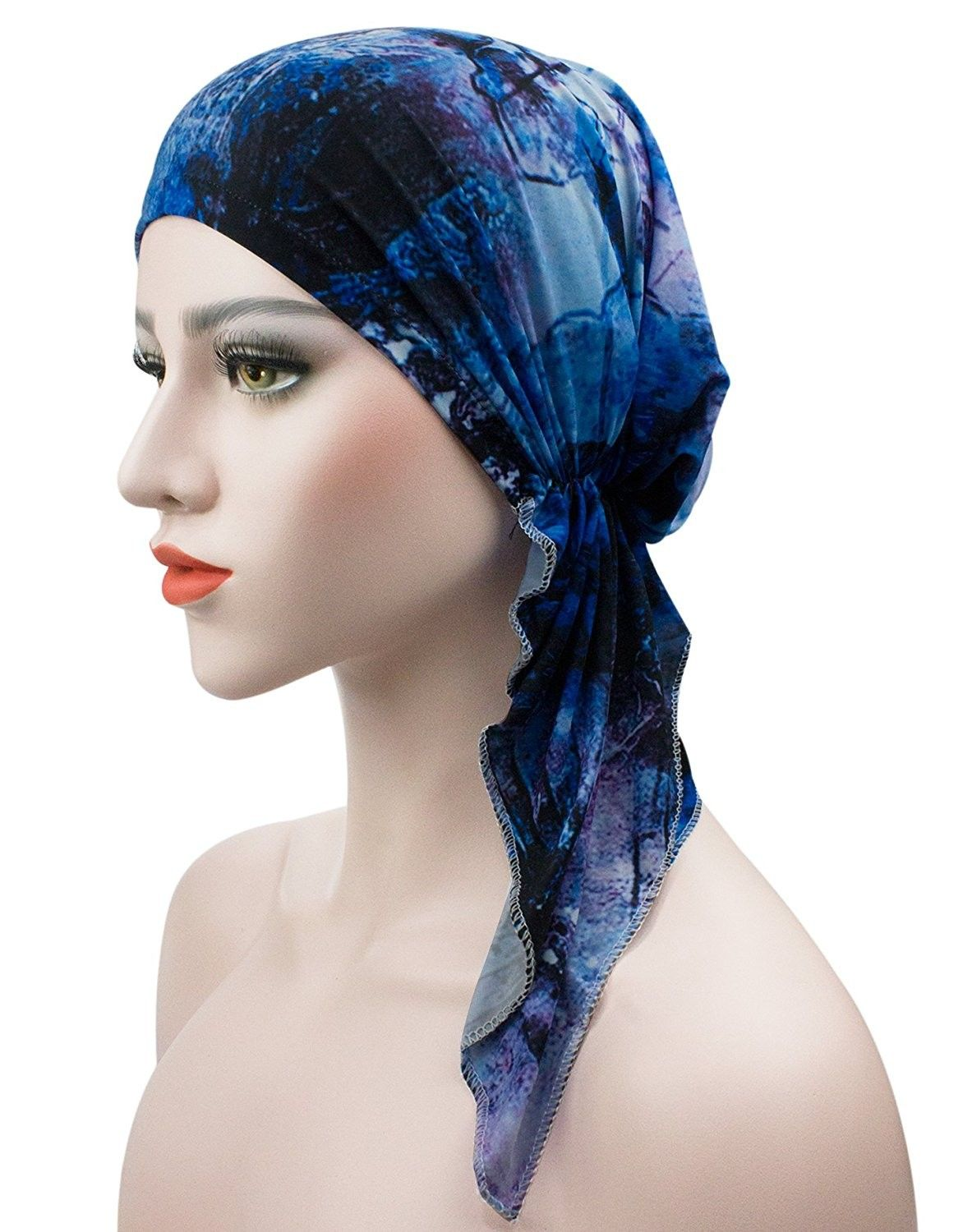 Women s Scarf Pre Tied Chemo Hat Beanie Turban Headwear For Cancer Patients  - Multicolor 02 - CC182Y9X4YG - Scarves   Wraps 6986b154bb2