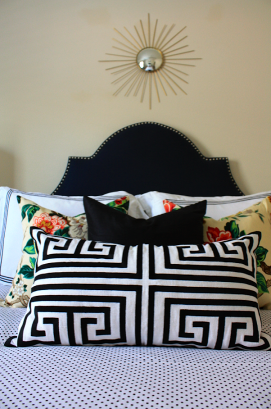 Absolutely in love with this bedding mix by Paloma Contreras Design | Biscuit Bedding | Polka Dots | Greek Key