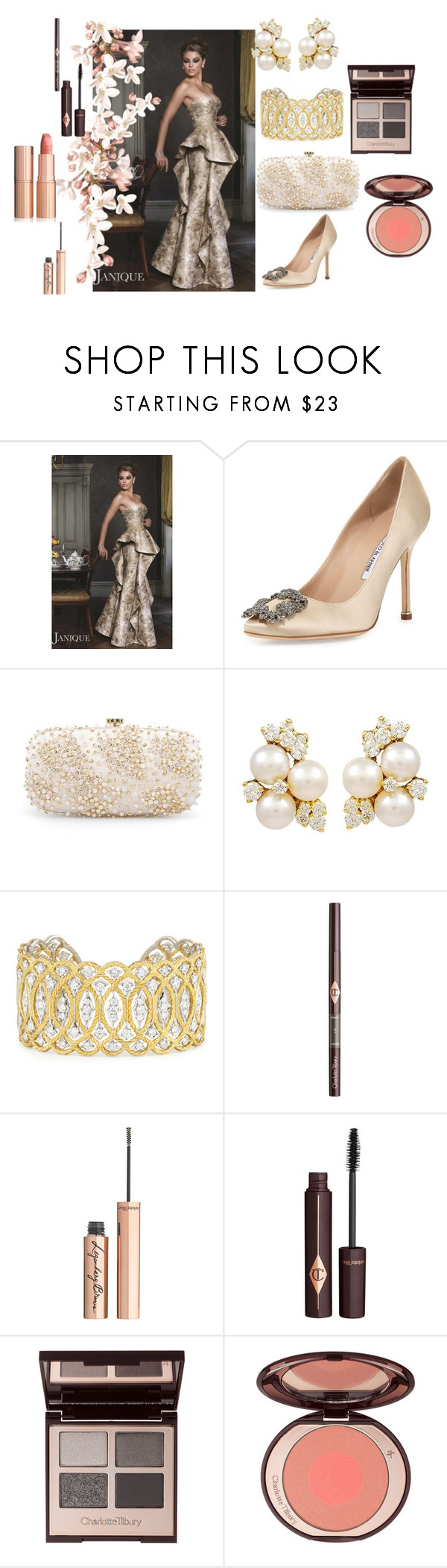 """""""Untitled #443"""" by vintagelady52 ❤ liked on Polyvore featuring Janique, Manolo Blahnik, Oscar de la Renta, Buccellati and Charlotte Tilbury"""