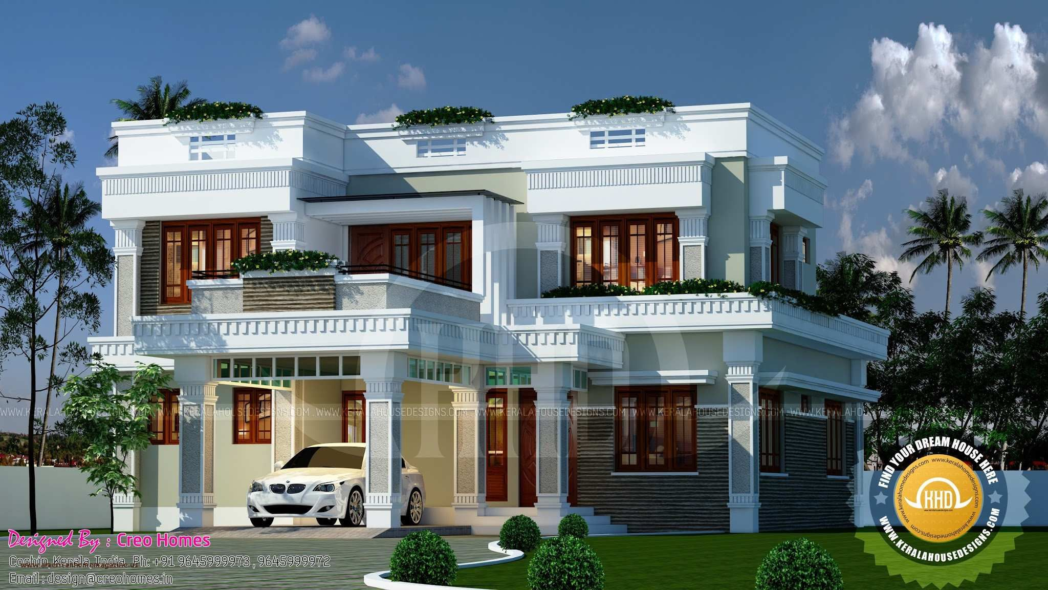 Indian Modern Bungalow Exterior House Roof Flat Roof House Designs Victorian House Plans