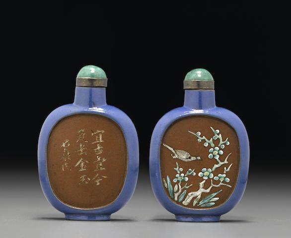 An enameled yixing ware snuff bottle  1800-1880