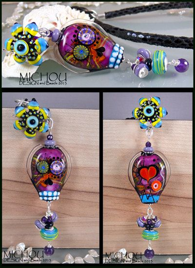 Dia De Los Muertos   Glamour Scull Necklace with by MichouJewelry, $179.00