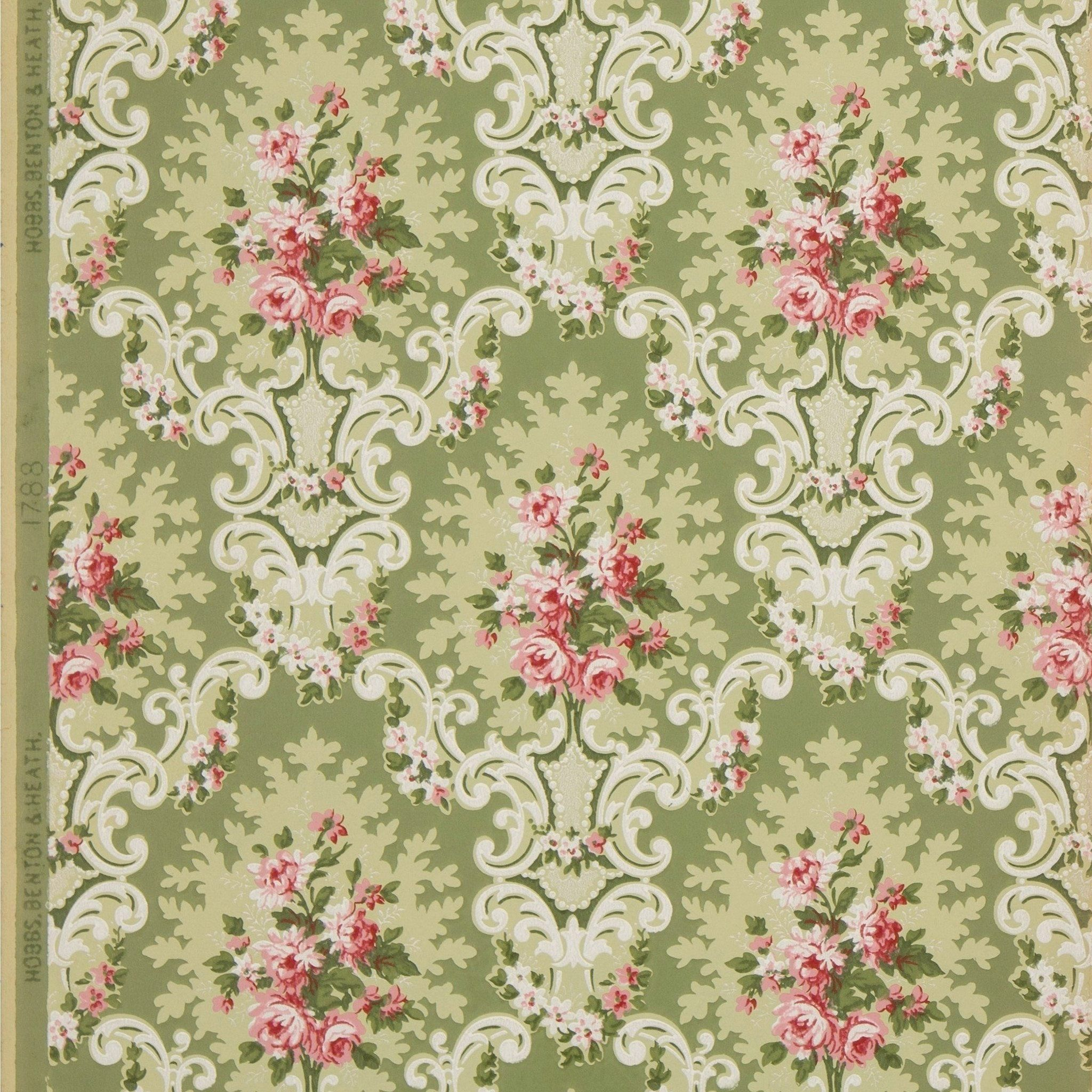 772bc449 Victorian and Edwardian Rose Clusters in Rococo Cartouches - Antique  Wallpaper Remnant 1890s/1900s (American)