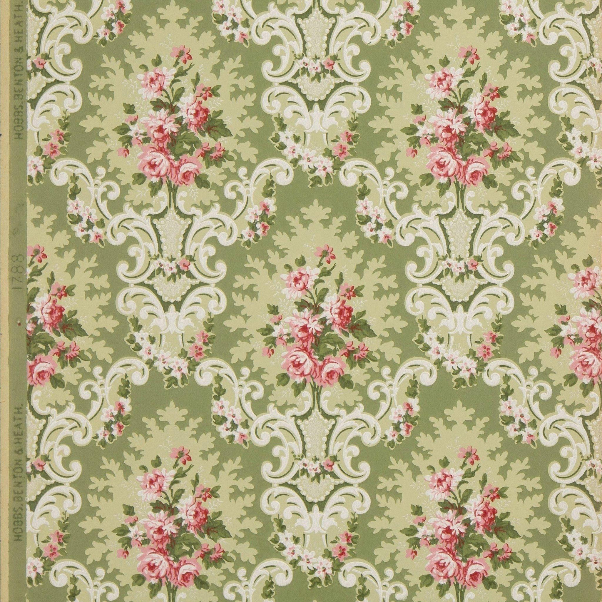 Flower Patterened Wallpaper 1890 Striped