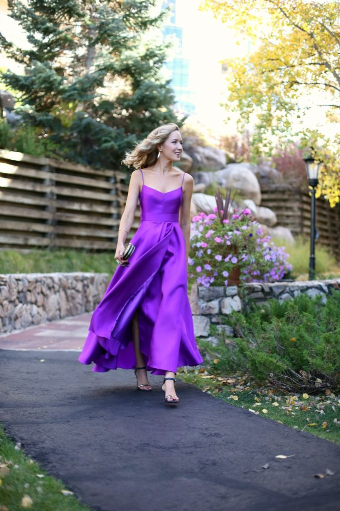 Black Halo Purple Orchid Karlowe Gown Asymettrical High Low Satin