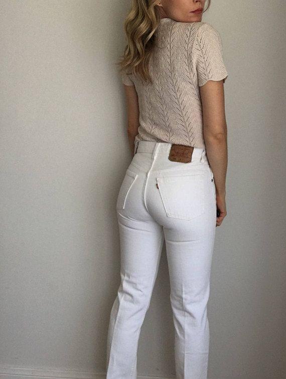 Vintage White Levi S 501 Jeans Women S 25 26 Waist High Waisted White Jeans 28 X 34 Levis Jeans Levi 501 Jeans Und Weisse Jeans