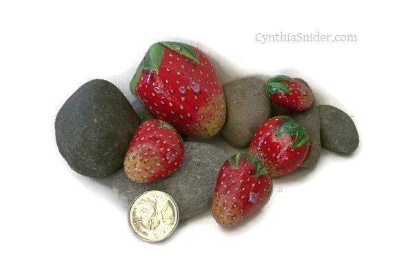 Strawberries,painted rocks,garden decor,strawberry stones,fruit painting,painted strawberry rock,red stones,rock painting,fruit rocks,stones by NightOwlFineArt on Etsy